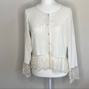 April Cornell Victorian vintage lace rayon top